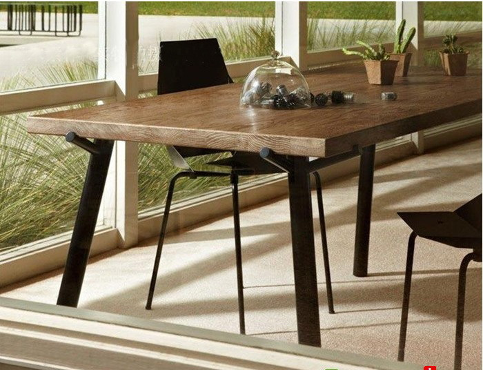 American Iron antique wood dining table and chairs desk bar table dinette combination hotel(China (Mainland))