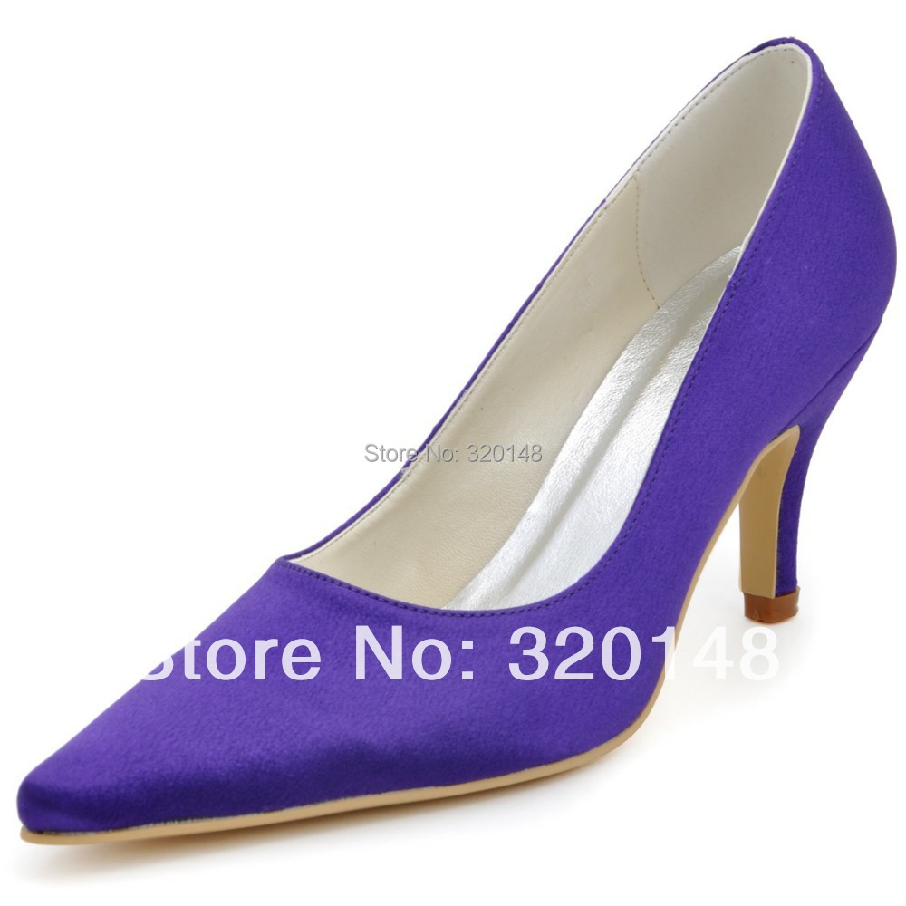 2014 New Arrival Sexy High Heel Shoes EP2131 Pointed Toe Purple 3inch Cone Heel Satin Prom Pumps<br><br>Aliexpress