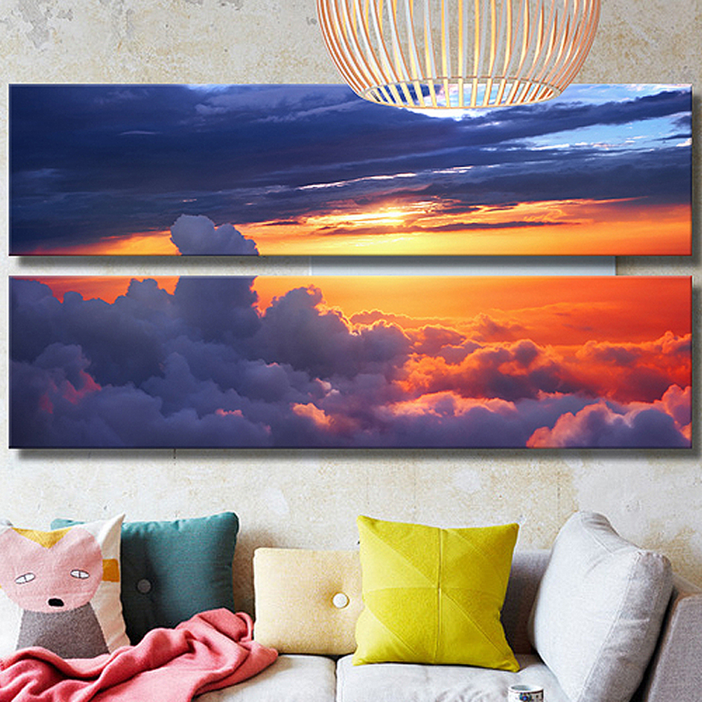 no frame natural clouds sunset glow canvas painting poster modular picture tableau retro mural. Black Bedroom Furniture Sets. Home Design Ideas