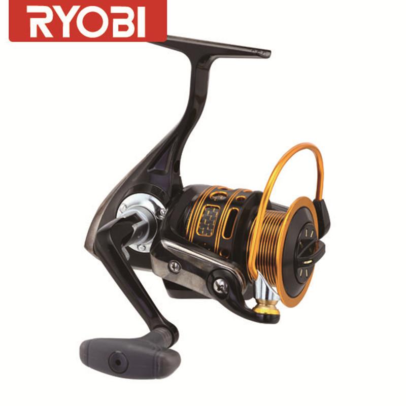 Фотография RYOBI Golden Aluminum Spool Spinning Fishing Reel Carretilha Pesca Carp Fishing Reels Molinete Pesca Coil Moulinet Peche Feeder