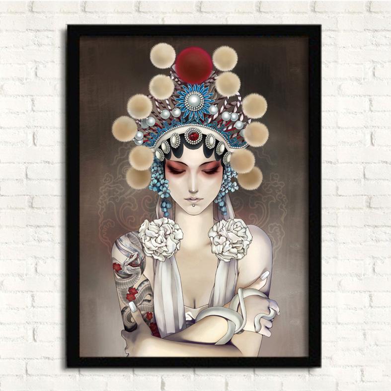 oosterse schoonheid hout ingelijste schilderij met acrylglas klaar om op te hangen creatieve kunst aan de muur home decor 33x43cm fp28(China (Mainland))
