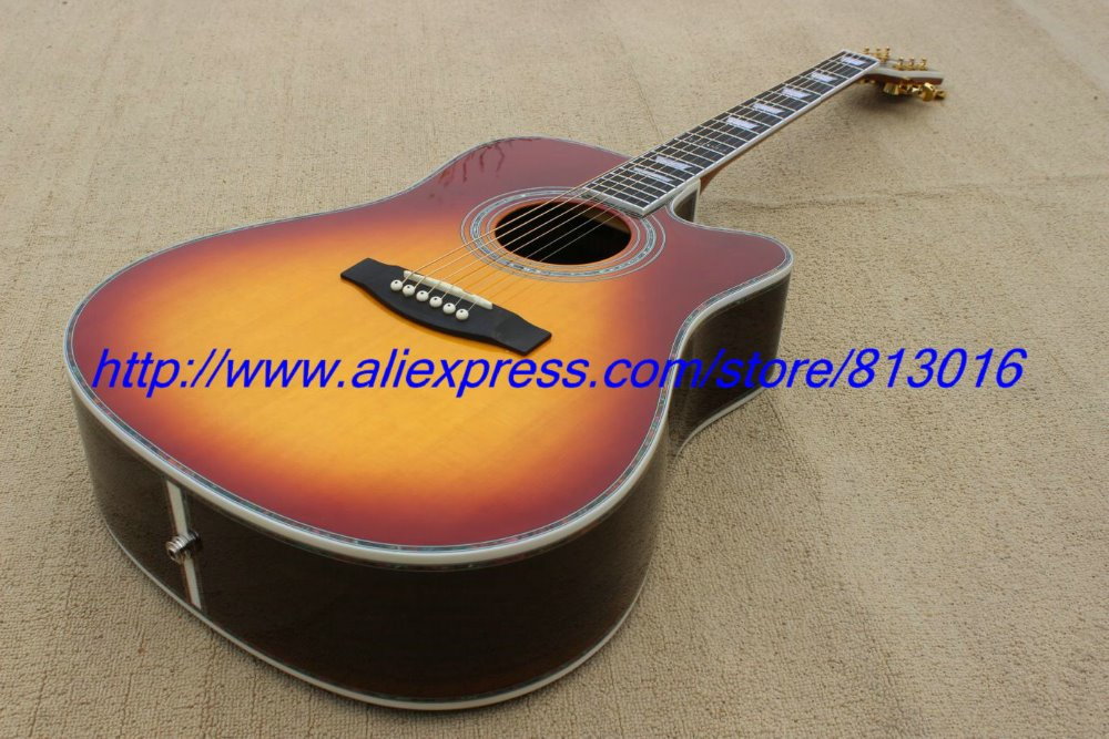 """Hot ! customised acoustic guitar 41"""" size spruce body top cut away model Cherry burst with,Gold parts!(China (Mainland))"""