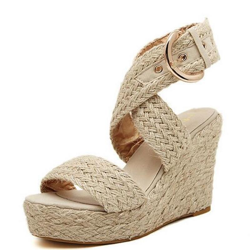 Casual Women Fashion High Heels Shoes Woman Straw Woven Platform Wedges Around Ankle Rome Sandals(China (Mainland))