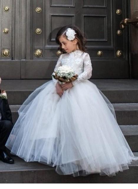 2015 красота свадебные платья дети аппликации кружева совок Жилетido лонго цветочные ...