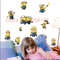 Despicable me 2 minions wall stickers for kids rooms decorative wall art removable pvc cartoon wall decal Free shipping