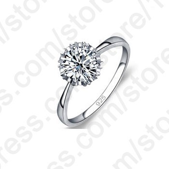 High Quality 925 Sterling Silver Jewelry Classic Engagement Ring 4 Size AAA CZ Diamond Ring Jewelry Free Shipping(China (Mainland))