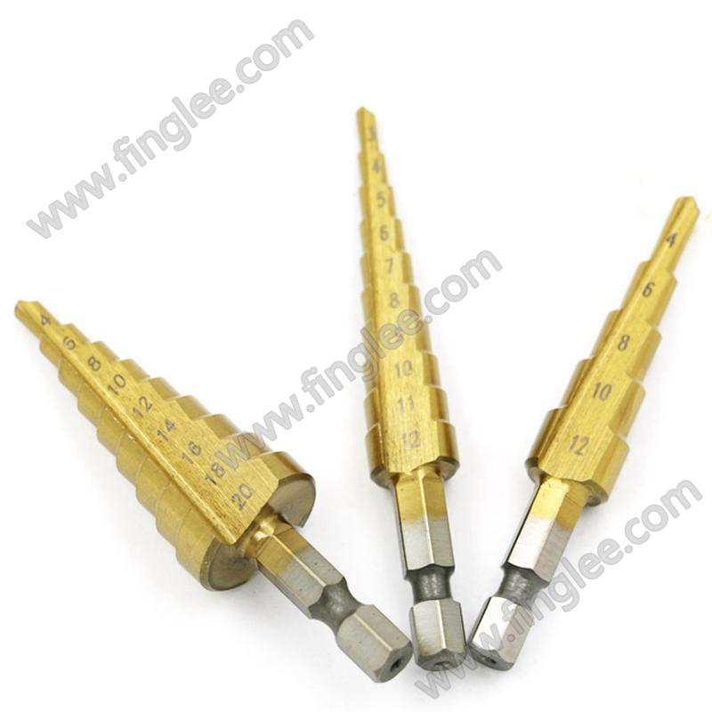 FINGLEE 3pcs/set Titanium Step Core Drill Bits 3-12mm 4-12mm 4-20mm HSS Power Tools High Speed Steel Wood Metal Drilling