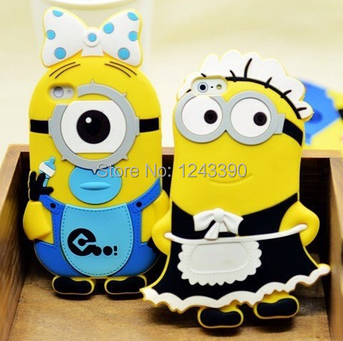 Super Cute 3D Bowknot Despicable Minions Silicone Minion Case iphone 4 4s 5 5g 5s