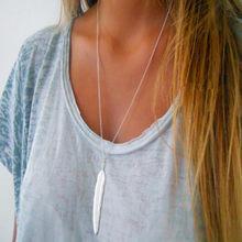 Nk607 nova moda punk minimalista duas folhas pingente clavícula colares para mulheres jóias presente borla verão praia corrente collier(China)