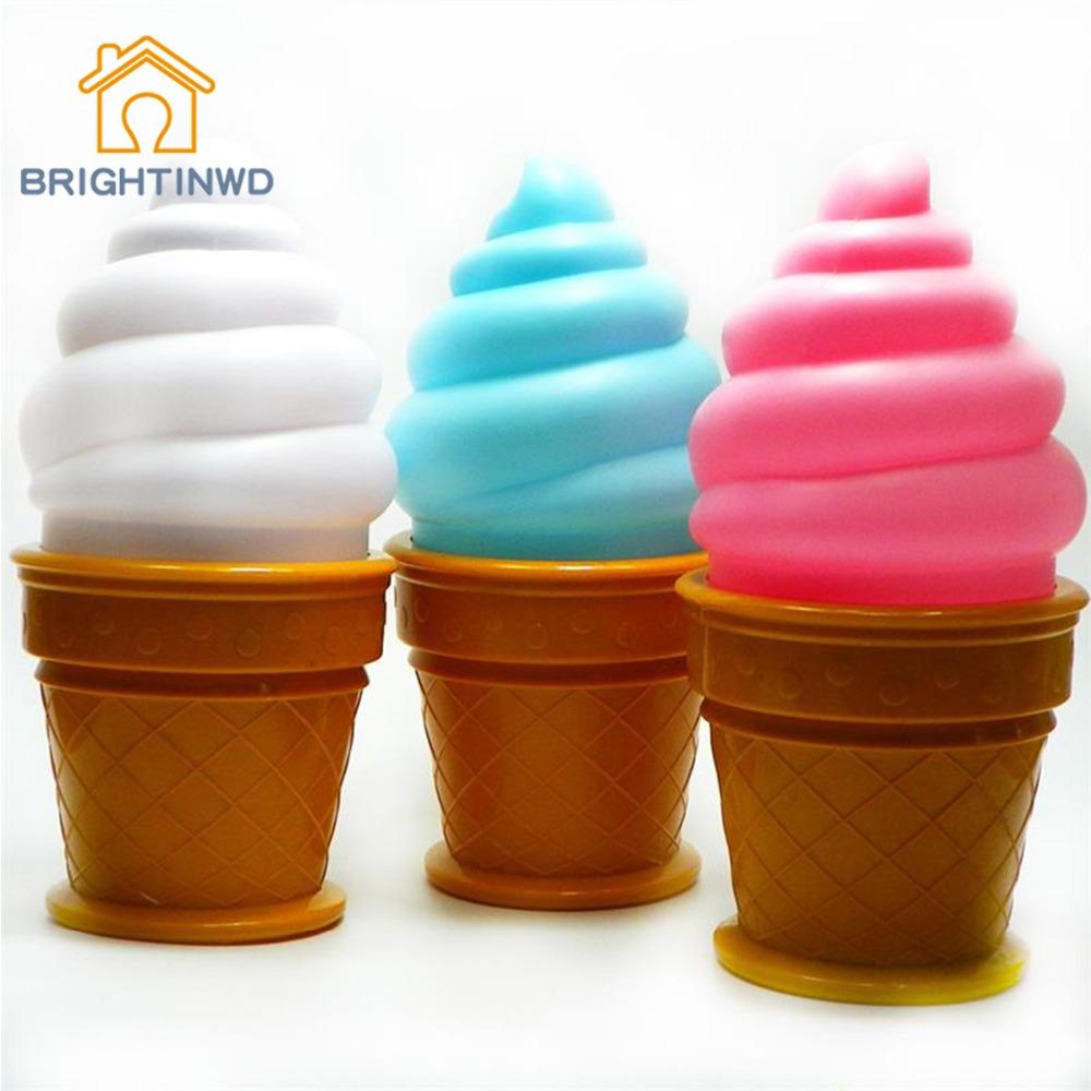 Novelty Ice Cream Bedroom Attractive LED Night Light Desk Lamp For Kids Gift Children Bedroom Bedside Nightlight(China (Mainland))