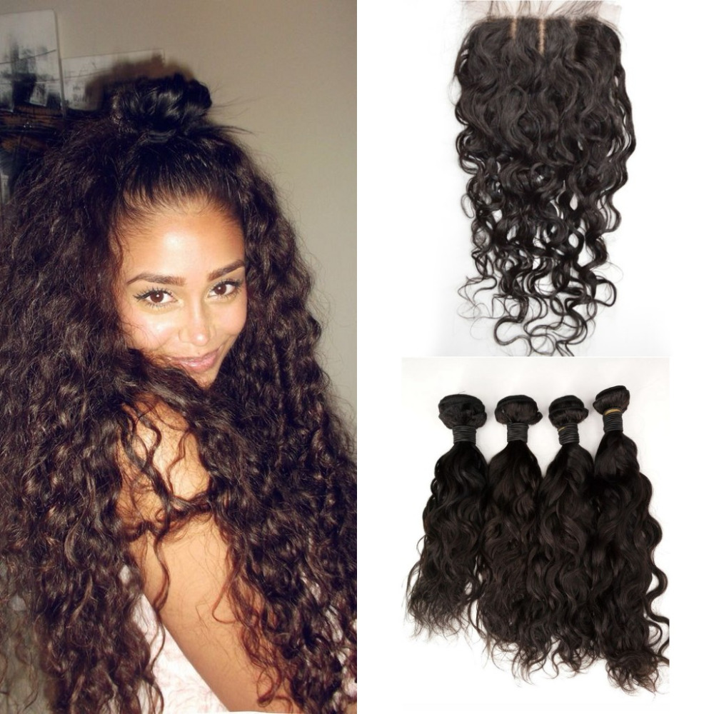 Malaysian Virgin Hair with Closure Water Wave Malaysian Natural Wave Virgin Hair Bundles with Closure 5pcs Malaysian Hair<br><br>Aliexpress