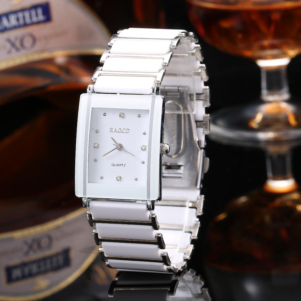 New Fashion Lovers Wristwatch Metal Ceramic Strap Bracelet Quartz Watches Woman Men Rectangle Head Luxury Couples