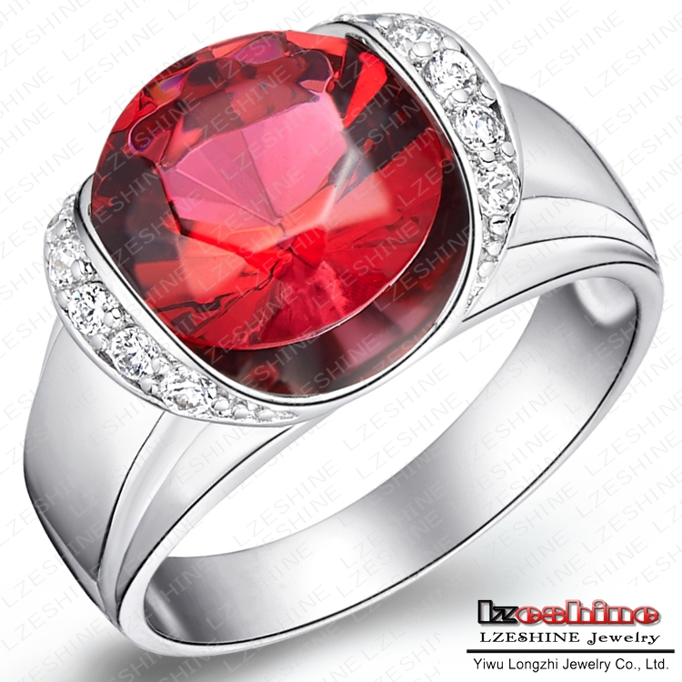 Fancy Jewelry Engagement Ring Real Platinum Plated Fashion Ladies Rings Inlay Big Imitation Ruby WX RI0037