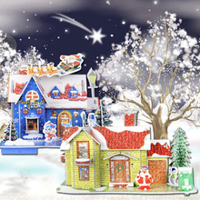 DIY Christmas EPS House Ornament Christmas Snow House Model Building Kit 3D Puzzle Paper Decorations Cartoon House Gift for Kids(China (Mainland))