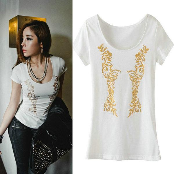 T22 sexy women t shirt low neck big collar short sleeve for Low neck t shirts women s