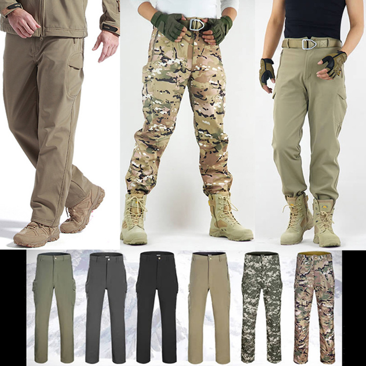 Outdoor Camping Hiking Pants Men Sport Hunting Windproof Waterproof Sport Thermal Breathable Soft Shell Wear-resistant Trousers