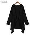 ZANZEA Women 2016 Autumn Casual Loose Cardigan Lapel Long Sleeve Waterfall Long Coat Jackets Asymmetrical Solid