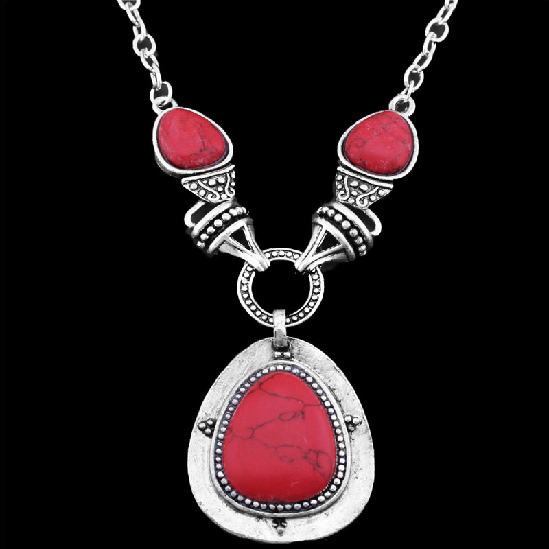 Vintage Look Antique Silver Plated Exotic Drop Pendant Red Turquoise Necklace TN53(China (Mainland))