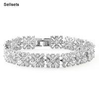 New Style Full Crossing Clear Zircon Bracelet & Bangle Fashion Zirconia Gem Stone Jewelry Accessories for Bridal