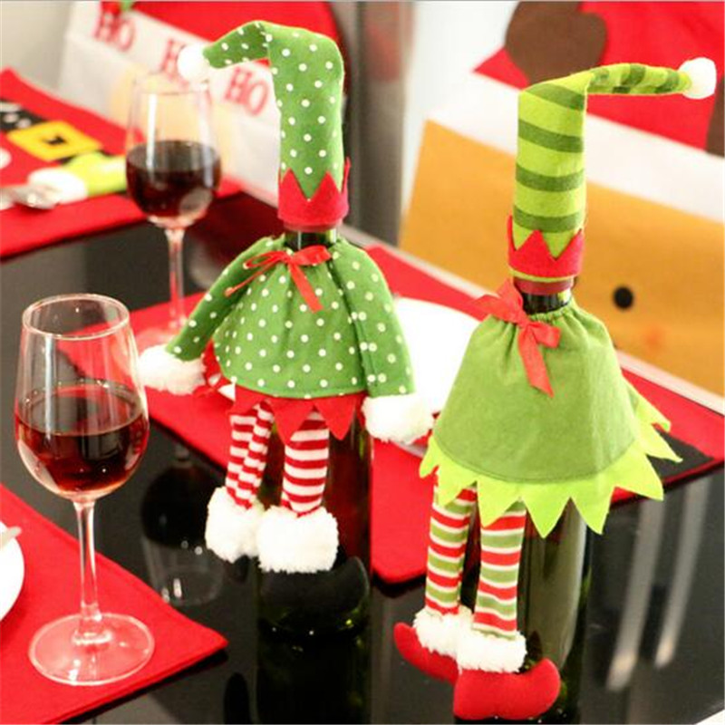 Santa Claus wine Bottle Cover Christmas Decoration Supplies Christmas Decorations Festival Party Ornament(China (Mainland))