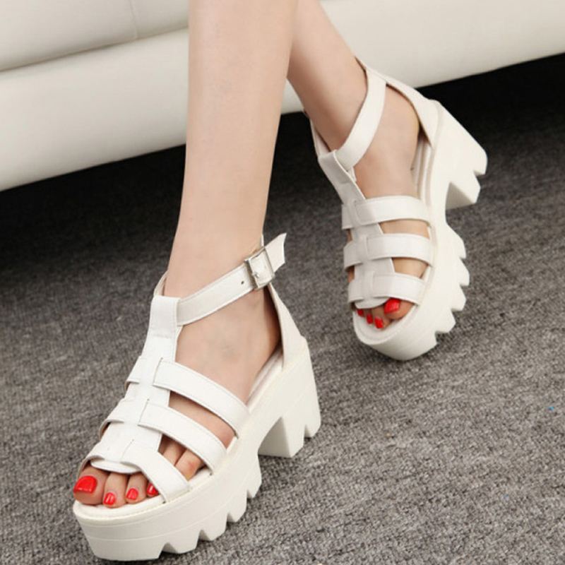 New Summer Lady Strappy Platform Block Heel Chunky Pure Buckle Leather Peep Toe Ankle High Sandals Women Gladiator Shoes(China (Mainland))
