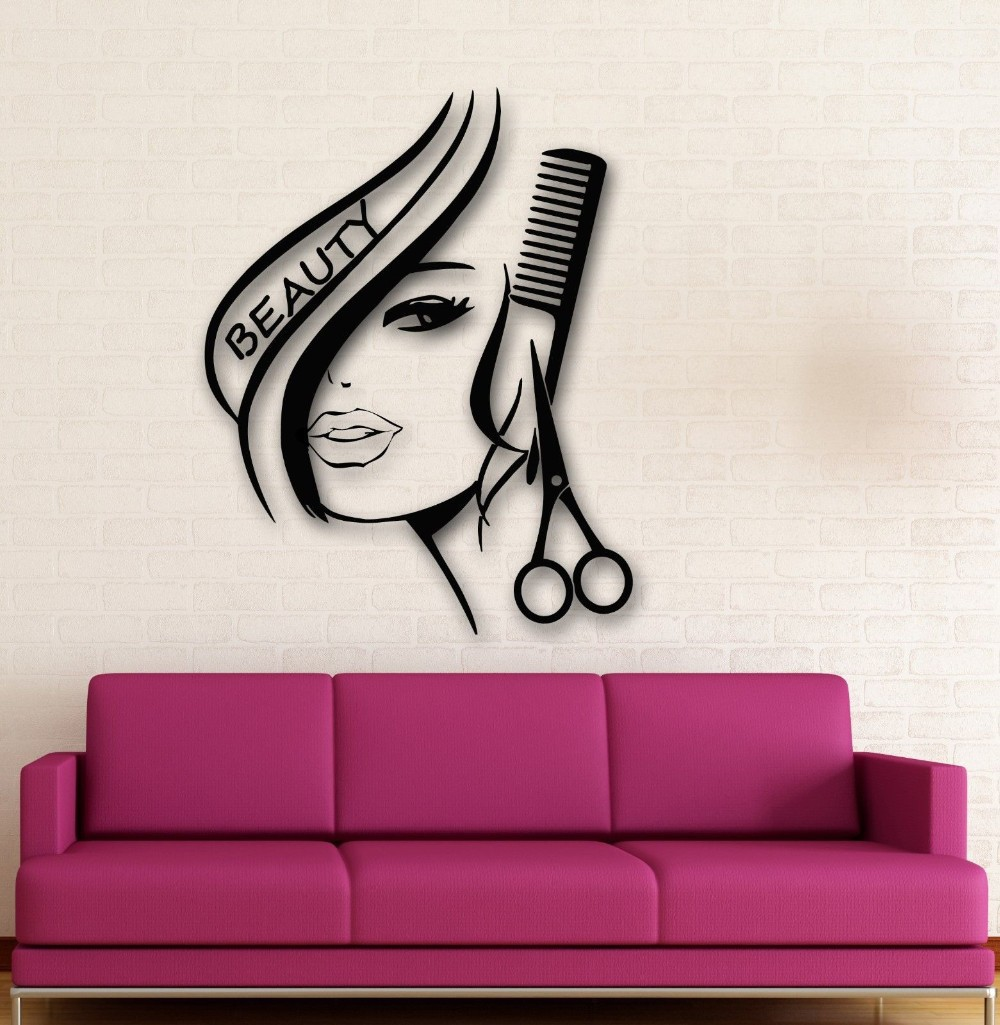 LH104 Beauty Salon Barbershop Sexy Girl scissors comb Wall Stickers DIY stickers for Home Decoration(China (Mainland))