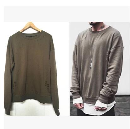 2016 spring Sweatshirts mens Hoodies hip hop oversize drooping shoulders pullover hole design olive KANYE WEST FOG YEEZY SEASON(China (Mainland))