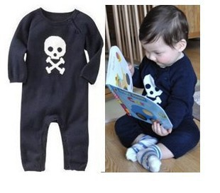 Retail HOT Baby boys skull romper new babies kids long sleeve jumpsuits infants wear cotton clothes Free shipping 920(China (Mainland))