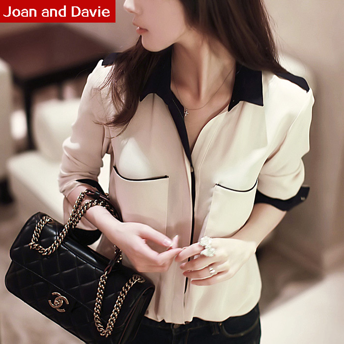 2015 Spring summer new fashion women black white long sleeve casual shirts chiffon big code feminine blouses plus size - Joan and Davie store
