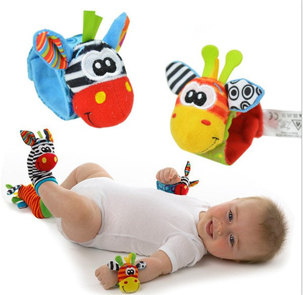 2pairs/set Animal Wrist Rattle+Foot Socks Baby Hand Rattles Newborn Toys 0-5 Months Brinquedos Bebe - Yiwu Commodity Mall store