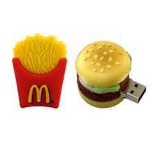 Wholesale USB creative usb flash drives French fries/hamburger usb drive thumb drive cute food 8/16/ 32GB car key memory stick(China (Mainland))