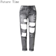 2017 Slim Pencil Jeans Women High Quality Ripped Jeans Female Smoke Gray Hole Nine Pants Loose Cowboy Mon Jeans Calca Feminina(China (Mainland))