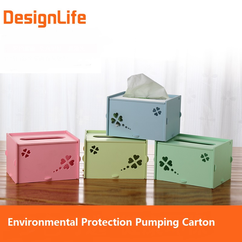 Creative DIY Toilet Paper Case Hollow Carved Draw Tissue Box Cartridge  Desktop Finishing Storage Plastic Boxes