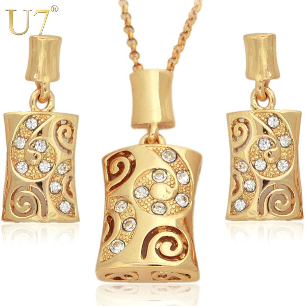 Fashion Design 18K Real Gold Plated Rhinestone Pendant and Earrings Jewelry Sets Wholesale 7V 3124