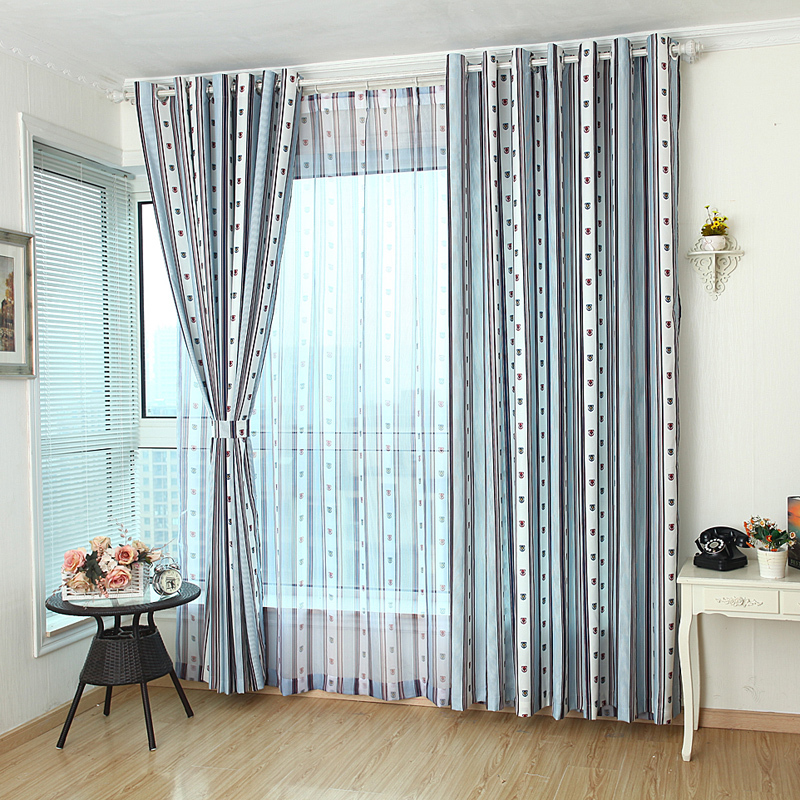ls cl145 living room curtain modern brief stripe bedroom curtain boy