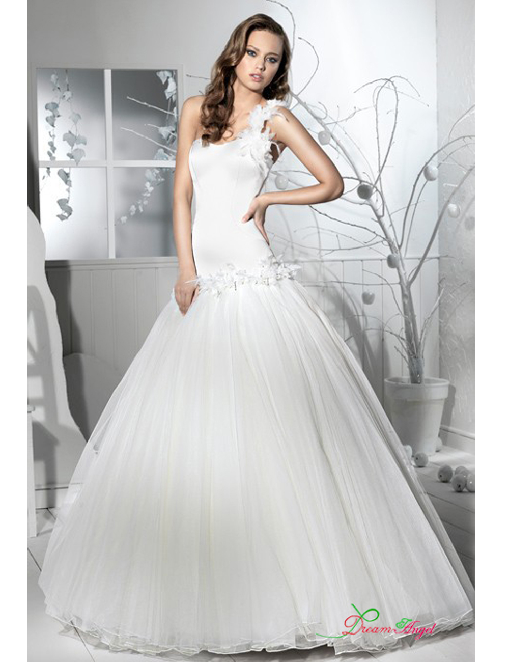 Latest looking one shoulder with feathers sequins satin for Wedding dresses with dropped waist