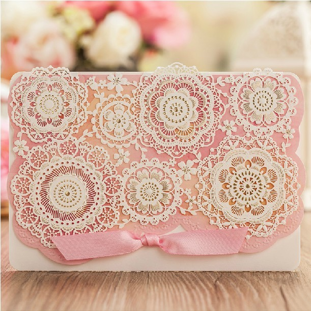 Lace Wedding Invitations Laser Cut Flower Personalized printing Baby Shower Invitation Cards with Envelope Convites De Casamento(China (Mainland))