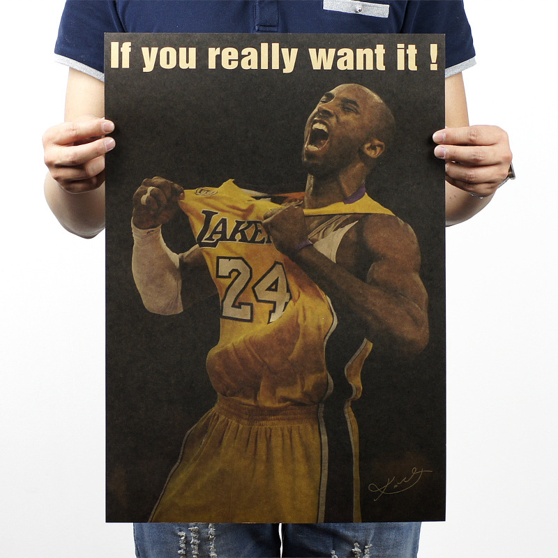 Kobe nba jersey Kraft paper classic Poster Living Room want it posters Home Decoration for home/Bar/Cafe/Pub LRHB030(China (Mainland))