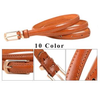 MAIJION Female Straps Leather Belt Waistband Cummerbund For Apparel Accessories,Candy Color Metal Buckle Thin Casual Belt Women