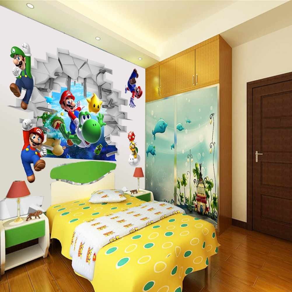 Super mario brother 3d wall sticker children art bedroom for Bedroom 3d wall stickers