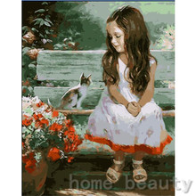 New framed digital oil painting by numbers diy home decoration craft paint on canvas unique gift picture girl and cat E091(China (Mainland))