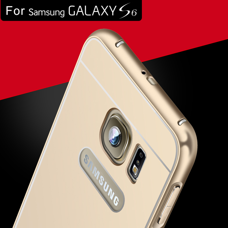 S6& S6 Edge Metal Aluminum +Acrylic Back Case For Samsung Galaxy S6 G9200/ Edge Luxury Hybrid Hard Armor Cover! Hole For Samsung(China (Mainland))