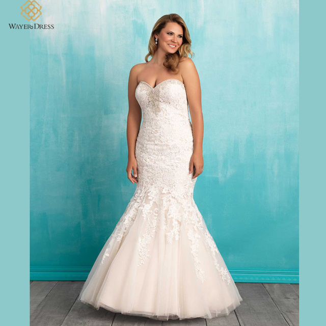 designer plus size sweetheart mermaid wedding dresses lace appliqued