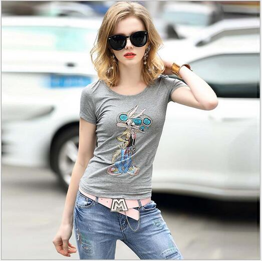 Bugs Bunny Mania summer 2016 women Looney Tunes fashion cotton Tight T-shirt European and america cartoon short sleeve t shirt(China (Mainland))