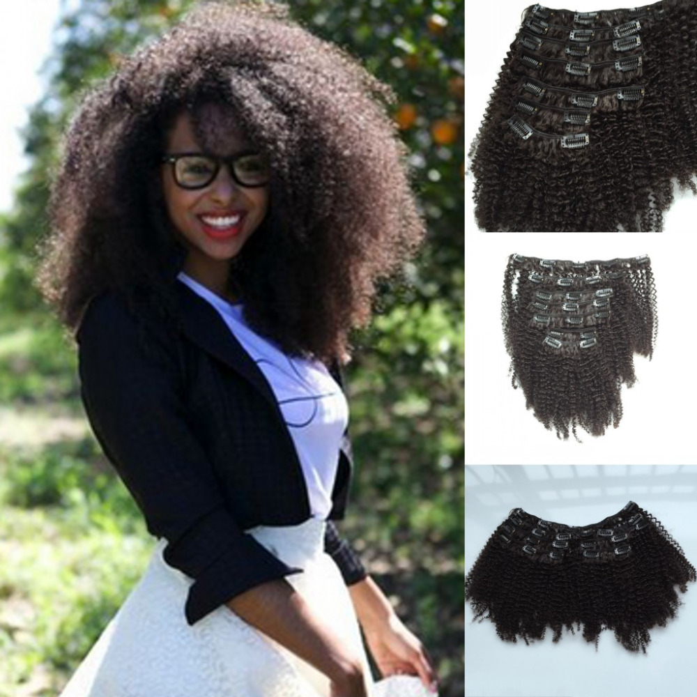 7A Brazilian Hair cheap curly Extensions Afro Kinky Curly clip Black Women Clips Weft Natural - Qingdao noble queen hair factory store