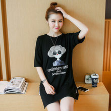 Good quality side split short sleeve cotton t-shirt maternity summer black letters printed tops Character girl printing tees(China (Mainland))