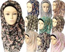 Muslim hijabs Fashion Jersey Cotton Headband floral design Women scarves & wraps Free Shipping Islamic Hijab(China (Mainland))