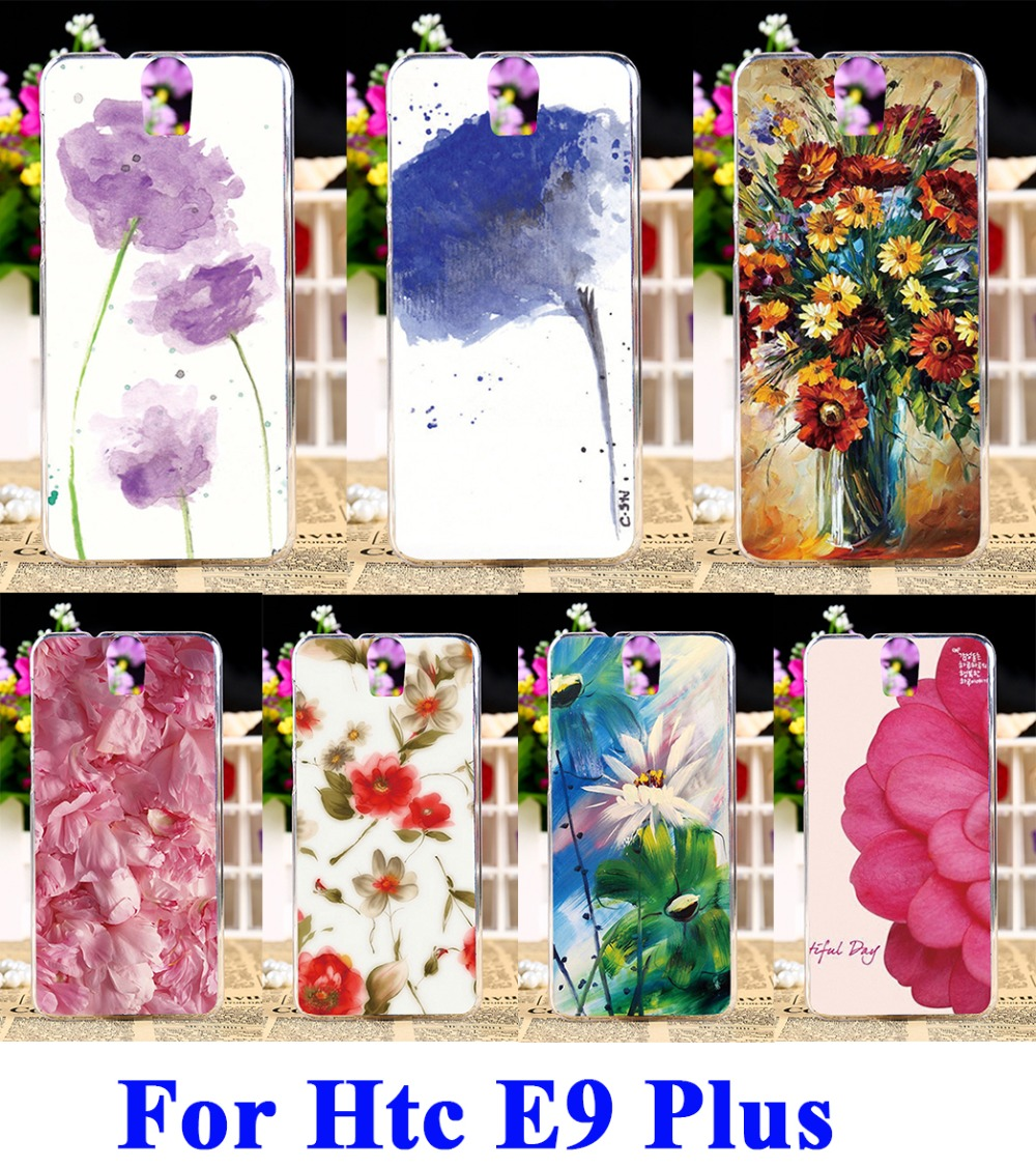 Hard Plastic Phone Cases For HTC One E9 E9+ E9 PLUS Case DIY Back Protection Shell Cover Watercolor Pattern Floral Flowers(China (Mainland))