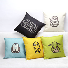 Hot Selling Cartoon Star Wars Series Cotton Linen Throw Pillow Sofa Office Back Cushion Baby Room Decorative(China (Mainland))