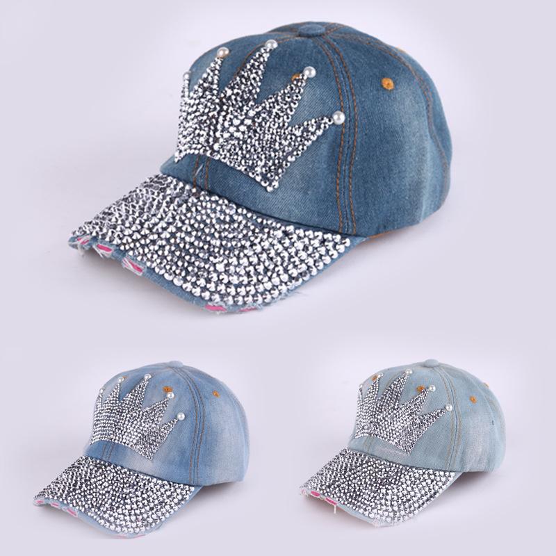 Crown Rhinestone Baseball Cap Denim Cap Men And Women Casual Cowboy Hat Baseball Hat Gorras Snapbac(China (Mainland))